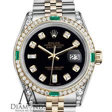 Rolex Stainless Steel 18K Gold 26mm Datejust Black Diamond Emerald Jubilee Watch