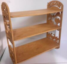 """Carved Wood Wall Shelf 3-Tier Wooden Display Shelves Rack """"Home Sweet Home"""""""