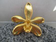 Kettenanhänger/ Brosche Echte Orchidee 24 kt vergoldet Marke Risis Punze 29 80er