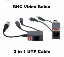 1 Pair BNC CCTV RJ45 UTP CAT5 Balun Audio Video Power over Transceiver Cable UK