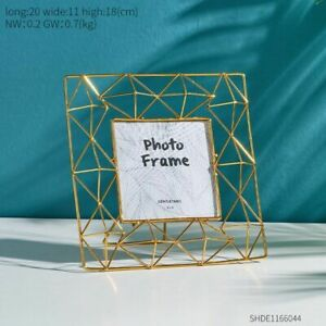 Metal Hollow Creative Square Modern Style Desk Table Vertical Photo Frame gift