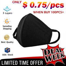Black Unisex Face Mask Reusable Washable Cover Masks Fashion Cloth Lot US STOCK!