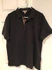 NWT Burberry Brit Men's Dark Charcoal Nova Check Polo Shirt Size Large