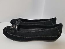 Aerosoles Carefree Black Suede Buckle Ballet Flats Shoes Loafers Women's Size 9M