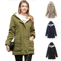 Womens Hooded Jacket Slim Winter Fur Parka Outwear Warm Long Thick Coat Trench