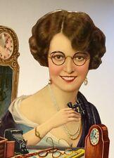 Pretty Lady Die Cut Calendar Top Salesman Sample Clock Camera Glasses 12x8 1910