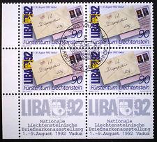Liechtenstein 1991 MNH** LIBA '92 Block of 4 corner of sheet CTO special cancel