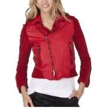 Women Zac Posen for Target Red Leather Short Coat Jacket Moto Biker Size XS 2