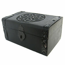 "New Hecate Pentagram Chest 5x8"" Black Wood Handmade Trinket Altar Box"