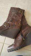 Wedge Mid-Calf Solid Zip Women's Boots