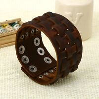 New Style Design Cross Braided Leather Bracelet Punk Retro Rivet Charm Brown