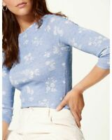 Marks & Spencer M&S Women Pale Blue Leaf Floral Print Cotton  3/4 Sleeve Top