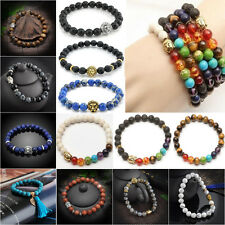 Hottest Man's Natural Stone Tibet Silver Buddha lucky bracelet 8mm Beaded Unisex