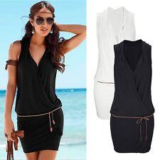 Womens Boho Peplum Wrap Dress Bodycon Summer Casual Holiday Beach Tops Sundresss