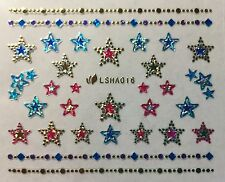 Nail Art 3D Glitter Decal Sparkle Metallic Stars w/ Rhinestones Stickers LSHA016
