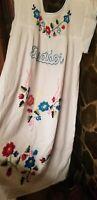 Boho Vintage Style Hand Embroidered Tunic  Ecuador Dress Hippie , Boho