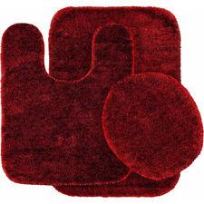 3-Piece Washable Bathroom Rug Set Traditional Nylon Chili Pepper Red Floor Rugs