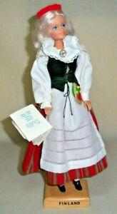 "FINLAND FOLK DRESSED GIRL 12"" DOLL COSTUME HANDMADE BY CAROLINE OF BRITT MN"