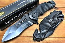 "9"" USA Ballistic Pocket Spring Assist Folding Knife, Black Blade, 5-Inch Closed"