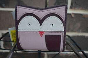 NWT $50 Fossil RFID Mini Leather Owl Bifold Wallet Fig purple oxblood