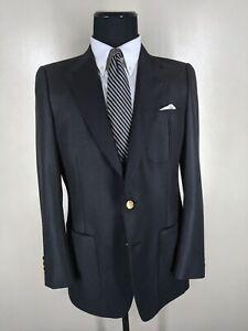 Lanvin Vintage Made In USA Solid Black Blazer 2 Btn Center Vent  Fit 38-39 Long