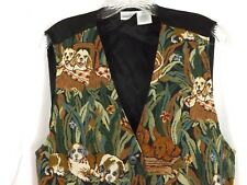 Vintage Womens Tapestry Vest Dogs Dog Lovers Cabin Creek Size XL Dogs on Picnics