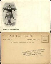 Looking Backward woman riding donkey pony Atlantic City New Jersey NJ UDB c1905