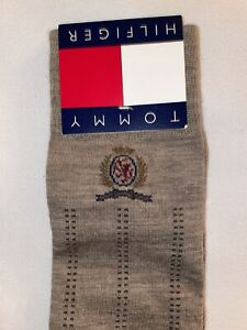 Retro Tommy Hilfiger Men's Tall Dress Casual Socks Size 10-13 Taupe Heather NEW