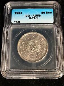 Japan ICG AU58 50 Sen 1904 Silver Coin Dragon Meiji Year 37 M37 KM Y#25