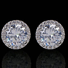 Women's 18K White Gold Plated Crystal Zircon Inlaid Ear Stud Earrings Jewelry CH