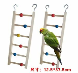 Wooden Stairs for parrot Ladder Standing With Colorful Beads for bird Cage D247