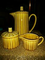 Ceramic Avocado Green Teapot & Sugar Creamer Embossed Vertical Stripes 3 Pieces!