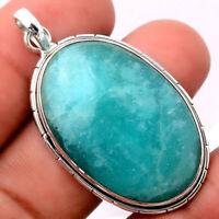 14g Natural Russian Amazonite 925 Sterling Silver Pendant Jewelry AP66651