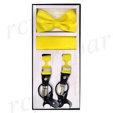 New Y back Men's Vesuvio Napoli Suspenders Bowtie Hankie clip on yellow