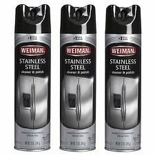 3 pack Weiman Stainless Steel Cleaner & Polish 17oz. Large Aerosol Cans