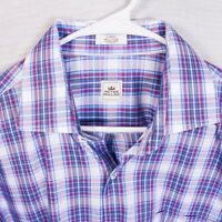 Peter Millar Mens Large Multicolor Plaid Check Button Front Long Sleeve Shirt