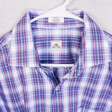Peter Millar Mens Large Multicolor Plaid Check Long Sleeve Button Front Shirt