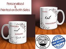 1st Wedding Anniversary Personalised Mug Gift Set (PAIR). (OC023)
