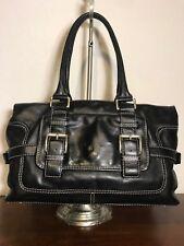 MICHAEL KORS Large Black Leather Buckle E/W Tote Shopper Domed Purse Bag