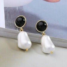 NEW Large Faux Freshwater Pearl Earrings Black Button Dangle Drop Stud