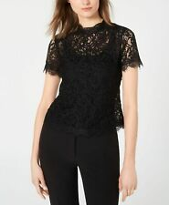 Anne Klein Womens Blouse Deep Black Size Small S Mock-Neck Lace Solid $99 163