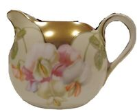 Vintage PSAG Bavaria Floral Creamer Gold Accents and Trim Beige White Pink Flowe