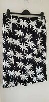 COLLECTION LONDON Ladies Black & White Palm Print Skirt Size 14 LS530