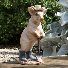 Large Pig in Hat Lawn Ornament Statue Patio Garden Decoration Figure Sculpture