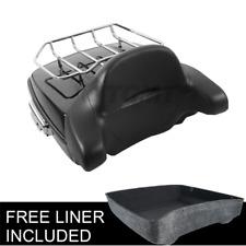 Pack Trunk w/ Rack Backrest Fit for Harley Tour Pak Touring Street Glide 14-20