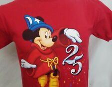 Disney World 25 Years Mickey Mouse Red Graphic T Shirt 100% Cotton USA M