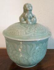 Vintage Chinese Monochrome Celadon Porcelain Urn Jar Vase with Foo Dog Finial