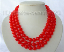 new 8mm round natural Orange red jade beads necklace 36''