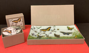 FRINGE STUDIO Set Trinket Tray Covered Scented Candle Butterflies  NiB