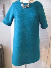 Worn Once RIVER ISLND Textured Ribbed EMERALD GREEN Mini SHIFT DRESS 12